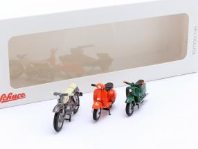 Set with 3 Motorcycles: Kreidler Florett, Schwalbe KR51, Vespa PX 1:43 Schuco