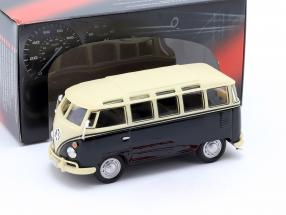 Volkwagen VW T1 Samba Bus with Tow Bar year 1950 black / beige 1:43 Cararama