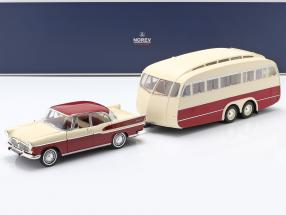 Simca Vedette Chambord 1958 with Caravan Henon red / ivory 1:18 Norev