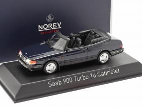 Saab 900 Turbo 16 Cabriolet year 1992 dark blue metallic 1:43 Norev