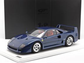 Ferrari F40 year 1987 trip de france blue with showcase 1:8 GT-Spirit