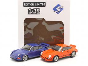 2-car set Porsche 911 Carrera RSR & Porsche 911 Carrera RS (964) orange / blue 1:18 Solido