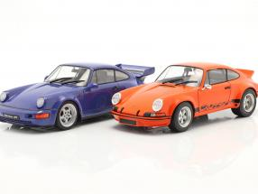 2-Car Set Porsche 911 Carrera RSR & Porsche 911 Carrera RS (964) orange / blau 1:18 Solido