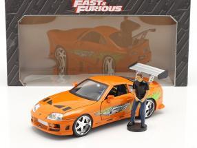 Brian's Toyota Supra 1995 Movie Fast & Furious (2001) with figure 1:18 Jada Toys