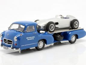 Set: Mercedes-Benz Race Car Transporter Blue wonder With Mercedes-Benz W196 1:18 iScale