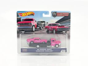 Set Team Transport: Dodge Dart 1968 & Horizon Hauler 1:64 HotWheels