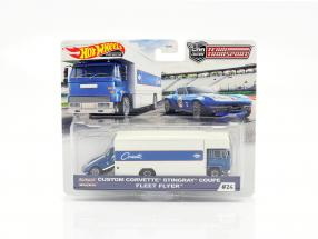 Set Team Transport: Custom Corvette Stingray Coupe & Fleet Flyer 1:64 HotWheels