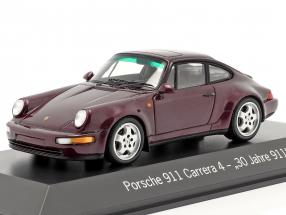 Porsche 911 Carrera 4 30 Years 911 wine red metallic 1:43 Spark