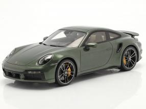 Porsche 911 (992) Turbo S year 2020 oak green metallic with showcase 1:18 Spark