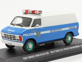 Dodge RAM B250 Van NYPD year 1987 blue / white / green 1:43 Greenlight