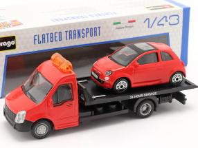 Fiat 500 year 2007 with Flatbed transporter red 1:43 Bburago