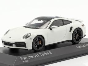 Porsche 911 (992) Turbo S 2020 white / black rims 1:43 Minichamps