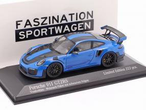 Porsche 911 (991 II) GT2 RS Weissach package 2018 voodoo blue / black rims 1:43 Minichamps