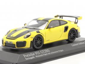 Porsche 911 (991 II) GT2 RS Weissach package 2018 racing yellow / black rims 1:43 Minichamps