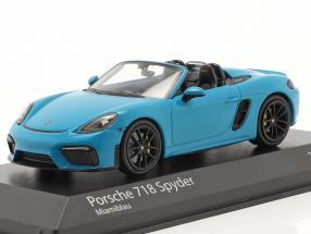 Porsche 718 (982) Boxster Spyder year 2020 Miami blue 1:43 Minichamps