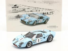 Ford GT40 MK2B #1 Winner 12h Reims 1967 Ligier, Schlesser 1:18 Spark