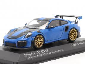 Porsche 911 (991 II) GT2 RS Weissach Package 2018 voodoo blue / golden rims 1:43 Minichamps