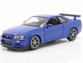 Nissan Skyline GT-R (R34) blue 1:24 Welly