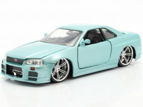 Brian's Nissan Skyline GT-R 1999 Fast & Furious light green metallic 1:24 Jada Toys