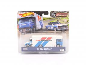 Set Team Transport: Datsun 510 1971 & Fleet Flyer 1:64 HotWheels