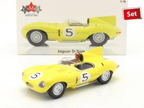 Set: Jaguar D-Type #5 4th 24h LeMans 1956 with driver figure 1:18 CMR
