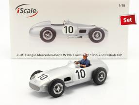 Set: J. M. Fangio Mercedes-Benz W196 #10 formula 1 1955 with driver figure blue shirt 1:18 iScale