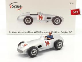 Set: S. Moss Mercedes-Benz W196 #14 formula 1 1955 with driver figure blue shirt