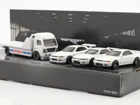 4-Car Set Nissan: Flatbed Truck & 3x Nissan Skyline white 1:64 HotWheels