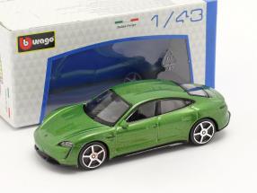 Porsche Taycan Turbo S year 2019 green metallic 1:43 Bburago