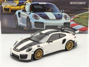 Porsche 911 (991 II) GT2 RS Weissach Package 2018 white / golden rims 1:18 Minichamps