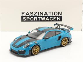 Porsche 911 (991 II) GT2 RS Weissach Package 2018 miami blue / golden rims 1:18 Minichamps