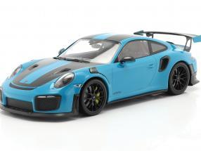 Porsche 911 (991 II) GT2 RS Weissach Package 2018 miami blue / black rims 1:18 Minichamps