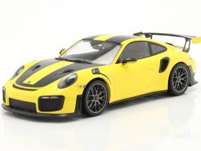 Porsche 911 (991 II) GT2 RS Weissach Package 2018 racing yellow / silver rims 1:18 Minichamps