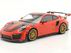 Porsche 911 (991 II) GT2 RS Weissach Package 2018 orange / golden rims 1:18 Minichamps