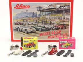 2-Car Micro Racer Assembly set Midget #8 & #3