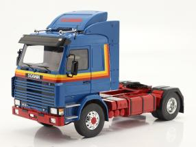 Scania 143 Topline Truck 1987 blue / yellow / red 1:18 Model Car Group