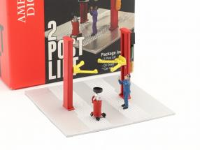 Two post lift oil drain red 1:64 American Diorama