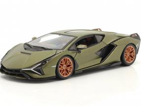 Lamborghini Sian FKP 37 year 2019 mat olive green 1:24 Burago