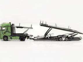 set Mercedes-Benz Actros GigaSpace 4x2 with Lohr Car transporter olive green 1:18 NZG
