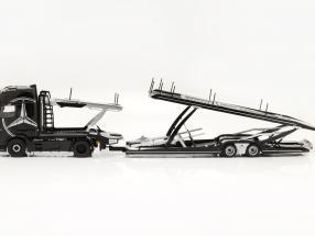 set Mercedes-Benz Actros GigaSpace with Lohr Transporter black with design 1:18 NZG