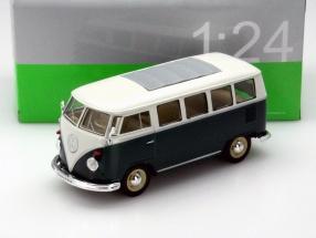 Volkswagen VW Classical Bus Baujahr 1962 grün - weiß 1:24 Welly