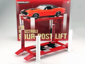 Einstellbare Vier-Säulen Hebebühne rot / weiß für Modellautos in 1:18 Greenlight