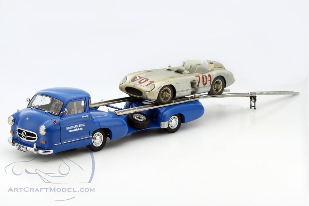 mercedes benz racing transporter set blue wonder with mb 300 slr 701 dirty hero m 163. Black Bedroom Furniture Sets. Home Design Ideas