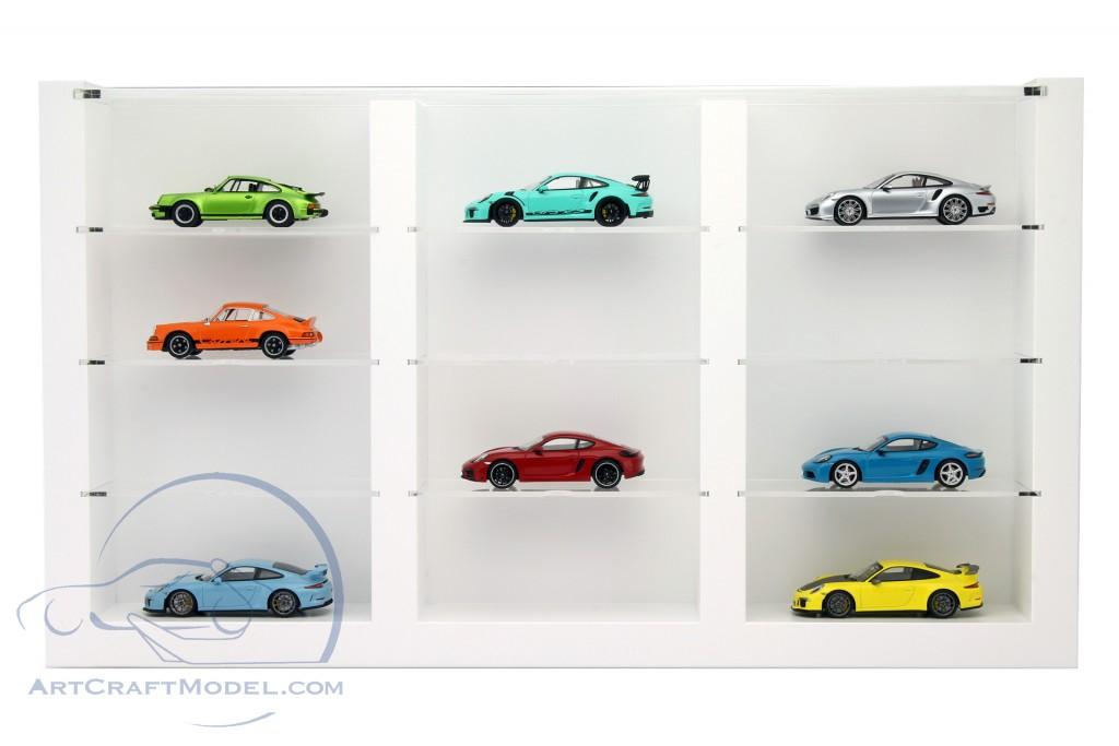 hochwertige vitrine aus holz f r 12 modellautos wei porsche wax05020616. Black Bedroom Furniture Sets. Home Design Ideas