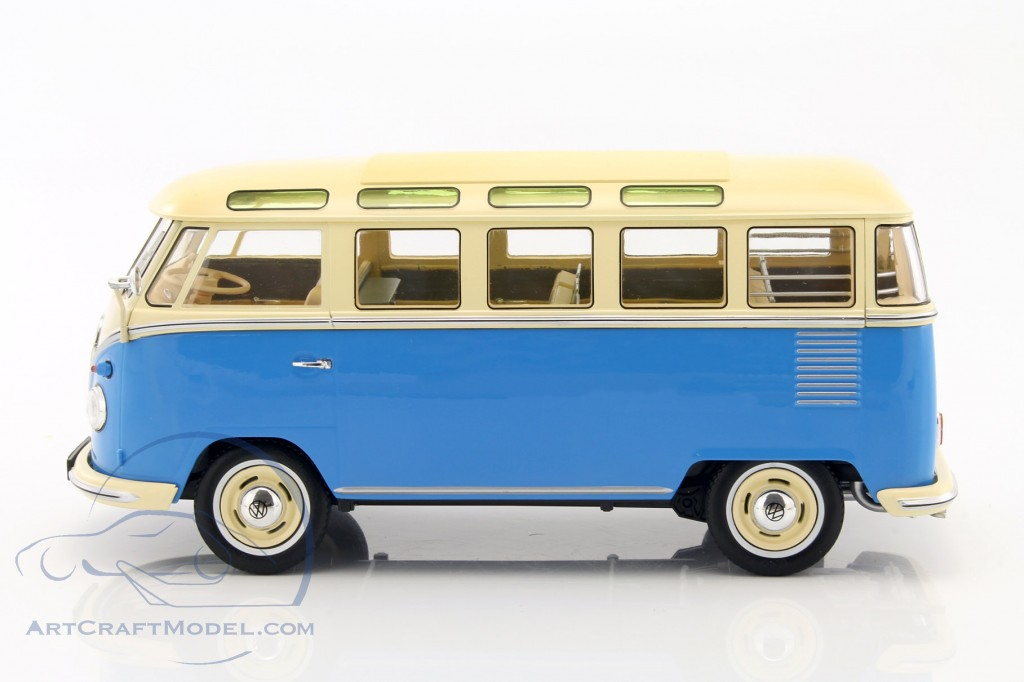 volkswagen vw bulli t1 samba year 1962 blue cream. Black Bedroom Furniture Sets. Home Design Ideas