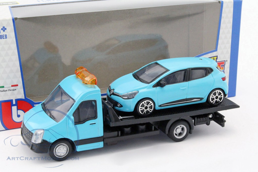 Renault Clio With Flatbed Transporter Light Blue