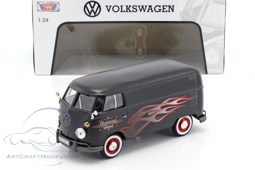 Volkswagen Vw Type 2 T1 Bus Custom Garage Mat Black With Flames