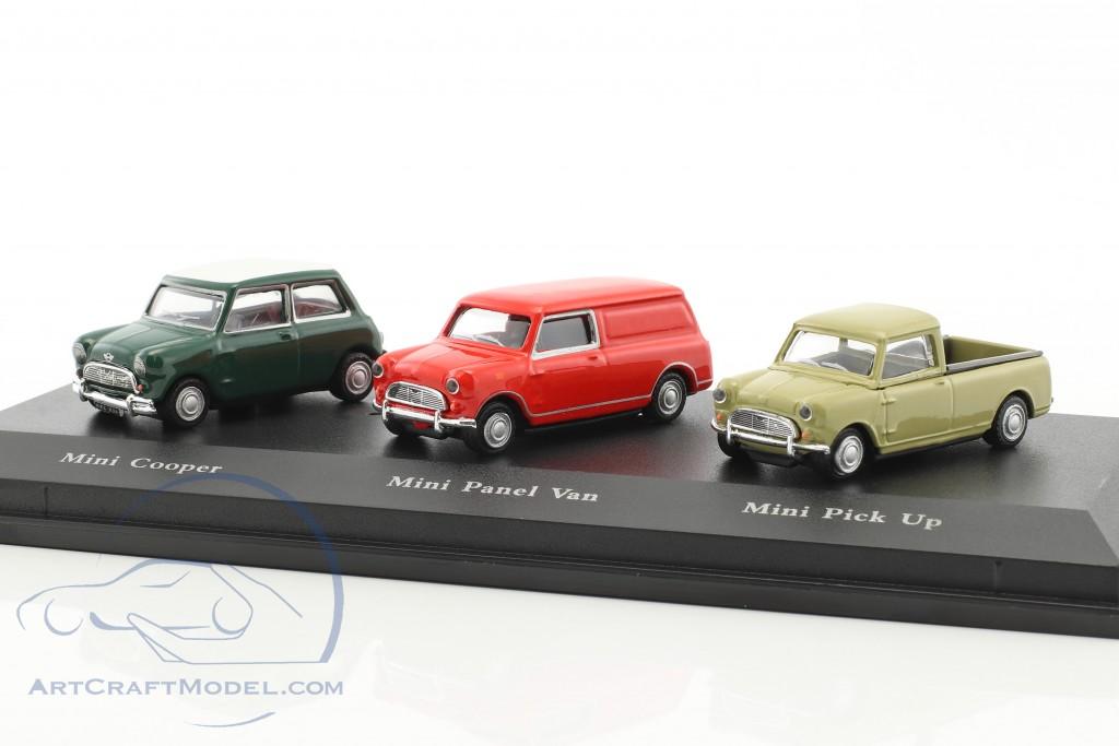 3 Car Set Mini Cooper Green Mini Panel Van Red Mini Pick Up