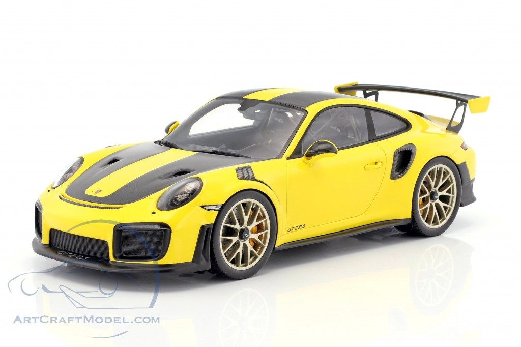 Porsche 911 991 Ii Gt2 Rs Weissach Package Year 2017 Yellow Black With Showcase Wap0211520j