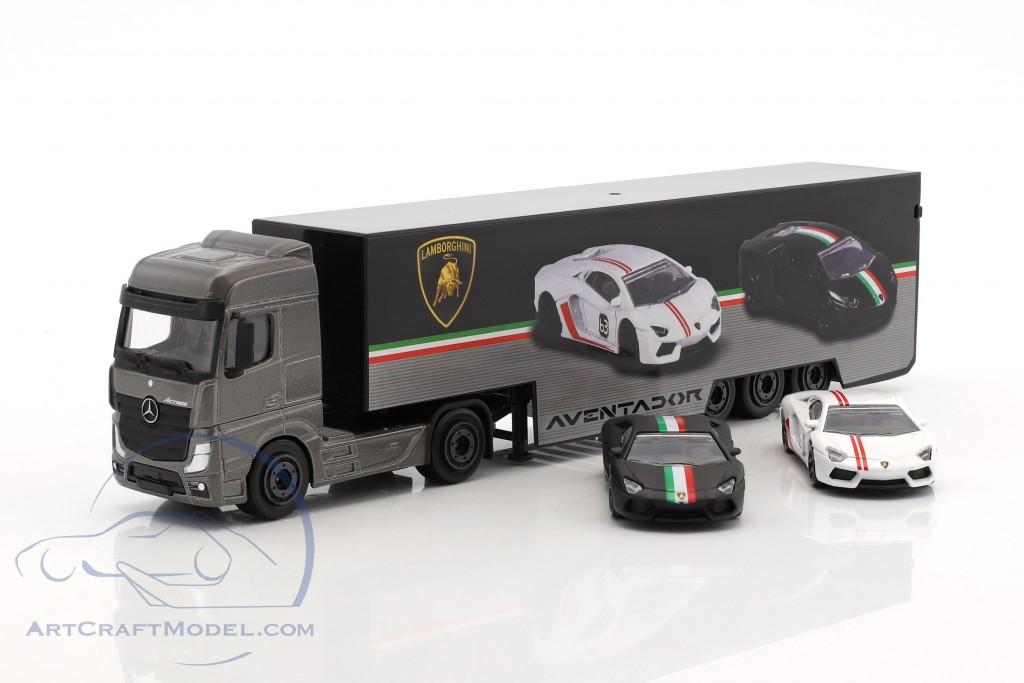 Set Lamborghini Truck Mercedes Benz Actros With Two Lamborghini